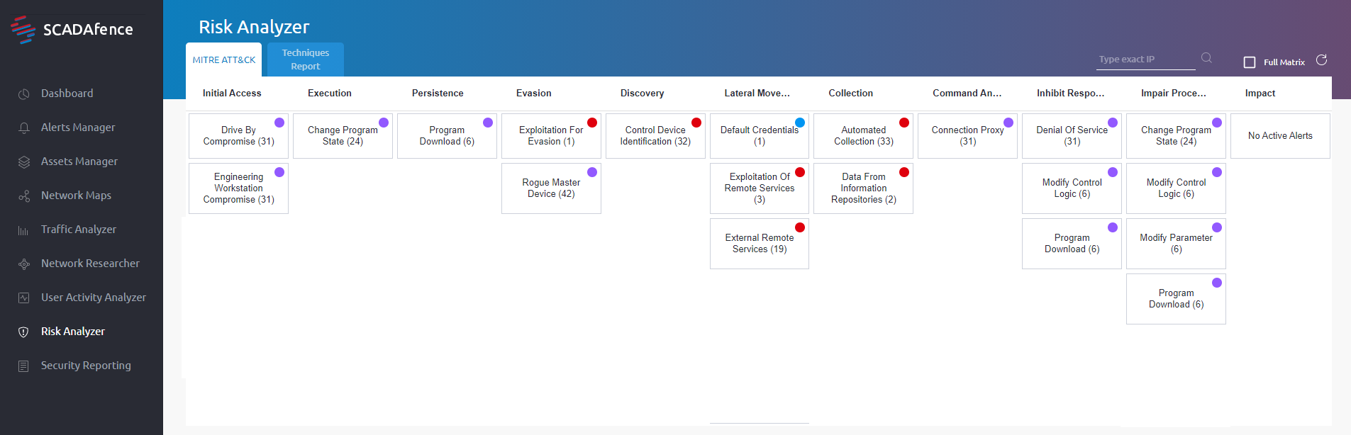 The SCADafence Platform showing all the stages of the attack based on the MITRE ATT&CK framework